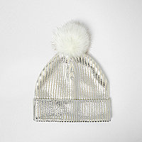 Girls silver metallic knit bobble hat