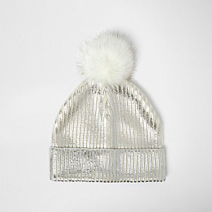 Girls silver metallic knit bobble hat
