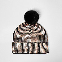 Girls bronze metallic knit bobble hat