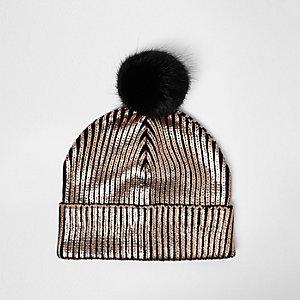Bonnet en maille bronze à pompon pour fille
