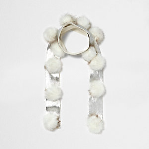 Girl cream metallic knit pom pom scarf