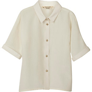 Mini girls cream button-up shirt