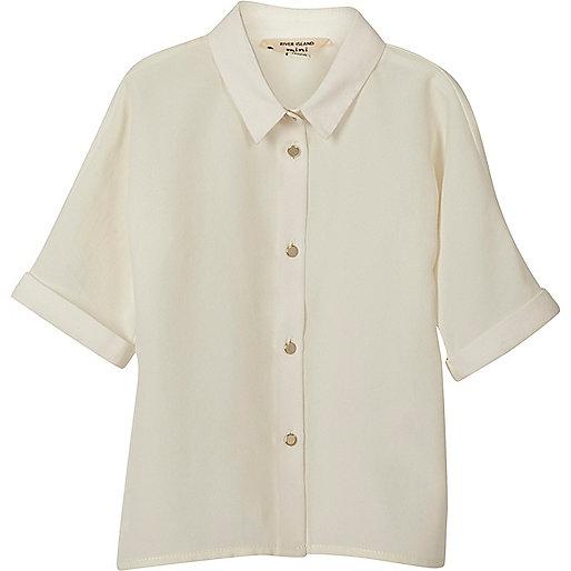 Mini girls cream button-up shirt