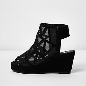 Girls black stud mesh wedge shoe boots