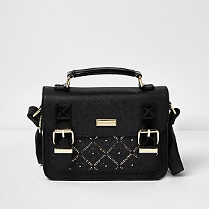Girls black laser cut satchel bag