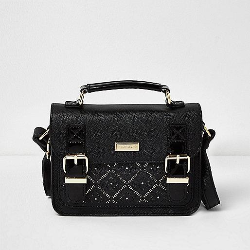 Girls black laser cut satchel bag