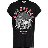 T-shirt Americana noir pour fille