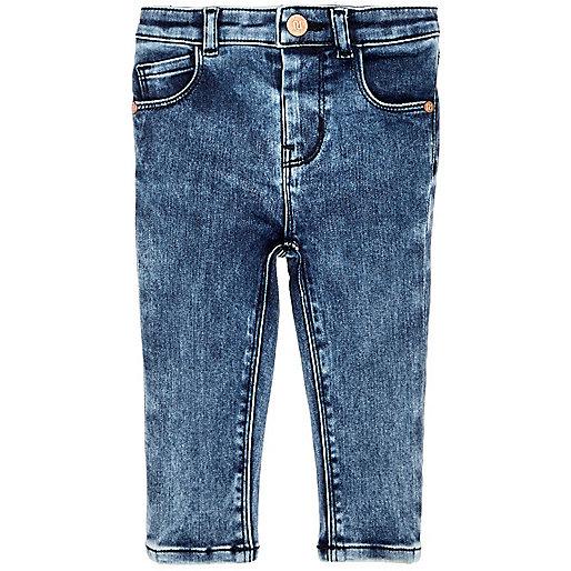 Mini girls marbled blue wash skinny jeans