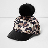 Mini girls leopard print pom pom cap