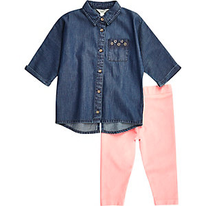 Mini girls denim shirt pink leggings set