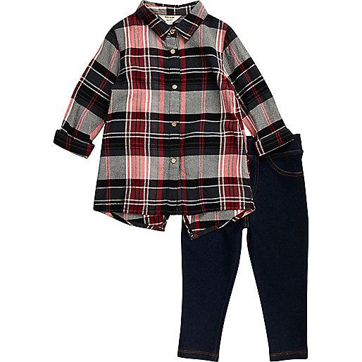 Ensemble legging et chemise à carreaux rouge mini fille