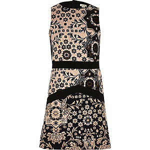 Girls blue jacquard print A-line dress