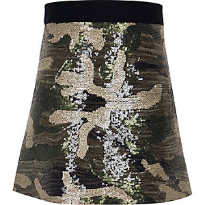 Girls khaki camo sequin skirt
