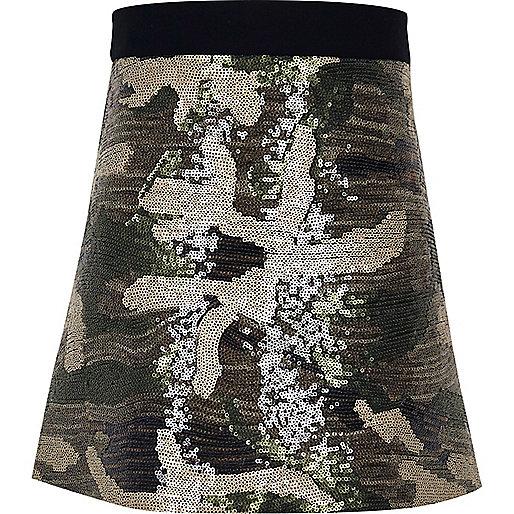 Girls khaki camo sequin skirt
