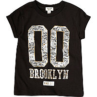 Mini girls black Brooklyn T-shirt