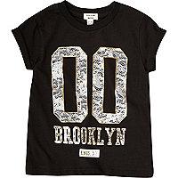 T-shirt Brooklyn noir pour mini fille