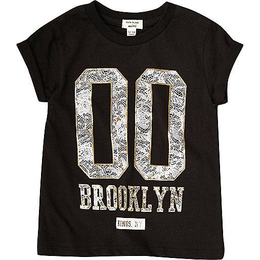 Mini girls black Brooklyn T-shirt