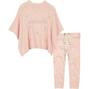 Ensemble pantalon de jogging et poncho rose pailleté mini fille
