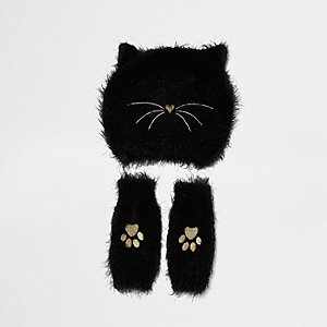 Girls black fluffy cat beanie and handwarmers