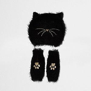 Girls black fluffy cat beanie and handwarmers