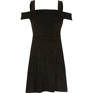 Girls black velvet stud bardot dress