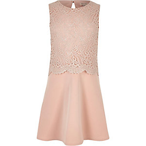 Girls cream metallic layered dress