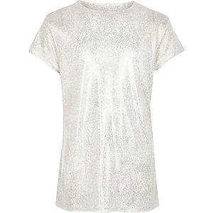 T-Shirt mit Print in Silber-Metallic