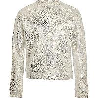 Girls light grey metallic sweatshirt