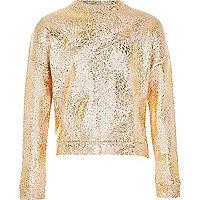 Sweatshirt mit Metallic-Print in Roségold