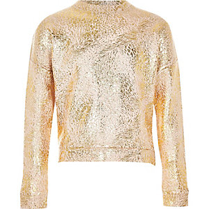 Girls rose gold metallic sweatshirt