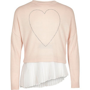 Girls blush pink heart asymmetric pleated top
