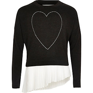Girls black heart asymmetric pleated top