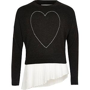 Top plissé asymétrique noir motif cœur pour fille