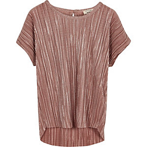 Mini girls metallic pink pleated top