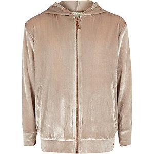 Girls pink metallic velvet zip up hoodie