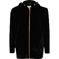Girls black velvet zip up hoodie