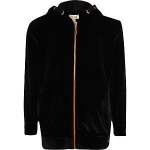Girls black velvet zip up hoodie