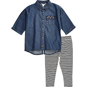 Mini girls denim shirt stripe leggings set