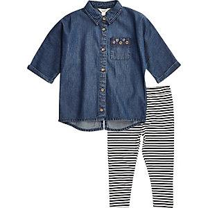 Mini girls denim shirt stripe leggings set