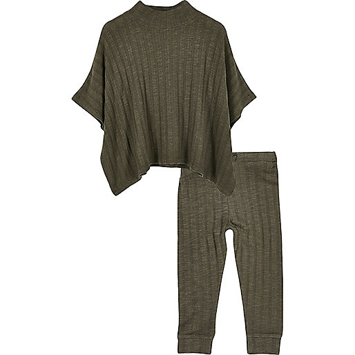 Mini girls khaki green ribbed poncho set