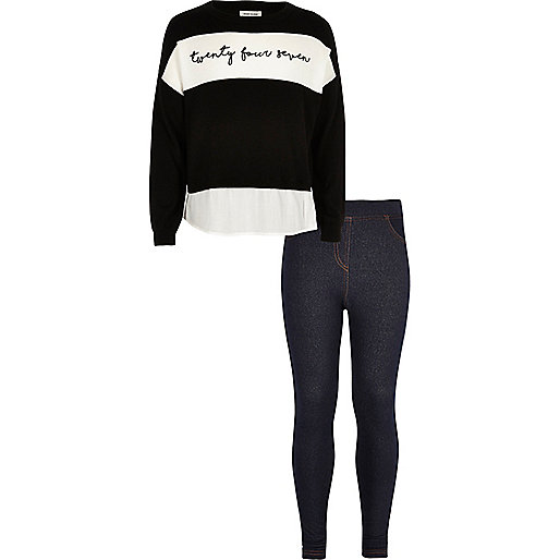 Girls black sweater denim-look leggings outfit