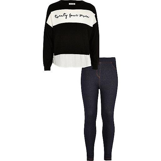Ensemble legging effet jean et pull noir pour fille