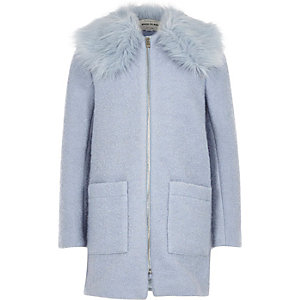Girls light blue wool faux fur collar coat