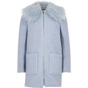 Manteau en laine bleu clair à col en fausse fourrure