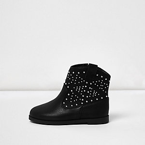 Mini girls black stud western boots