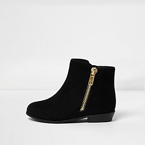 Mini girls black zip ankle boots