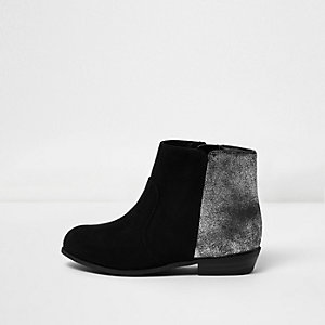 Mini girls black silver heel western boots