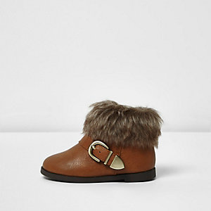 Mini girls brown faux fur cuff boots