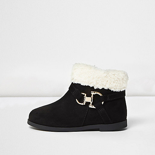 Mini girls black Western fleece boots