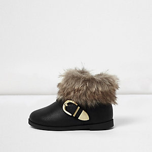 Mini girls black faux fur cuff boots